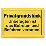 Privatgrundstück - Unbefugten Betreten/Befahren verboten Kunststoff Schild (gelb, 30 x 20cm),...