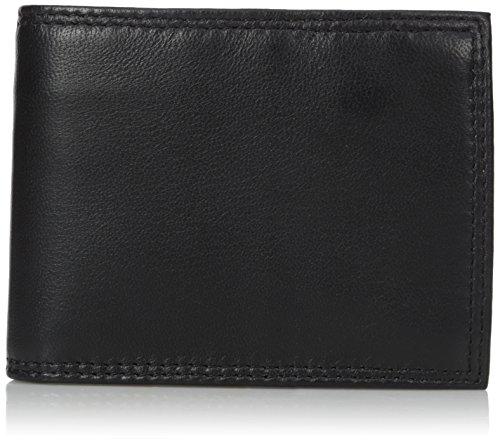 Buxton Men's Emblem Zip Convertible Nappa Lambskin Wallet, Black, One Size