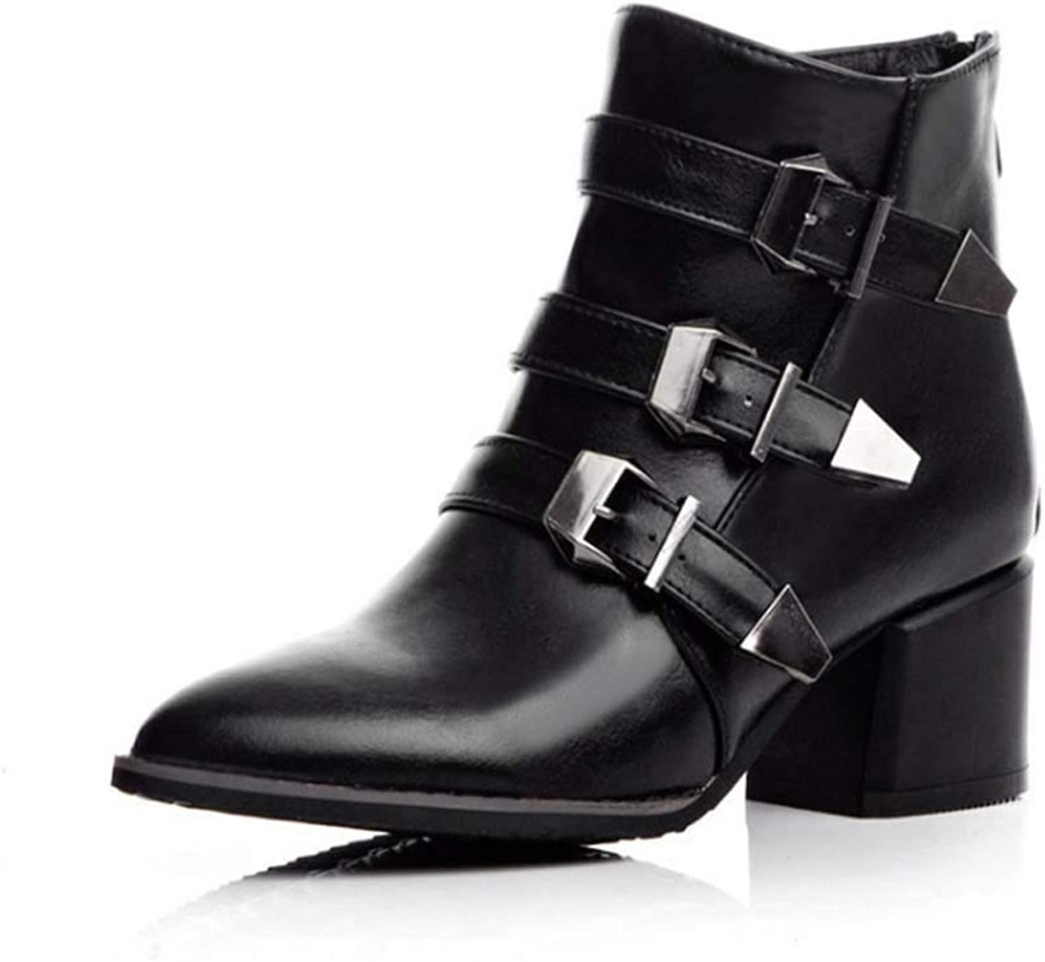 Women Ankle Boots,Leather Pointed Boots Round Chunky Block Heel Boots Winter Boots Flat Boots Short Boots Ladies Chelsea Boots,Black,35EU