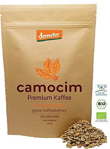 Bio Rohkaffee | 100% Grüne Kaffeebohnen Mikrolot Peaberry Arabica Varietät | Single State Camocim Farm | BIO Demeter Biodynamisch Zertifiziert (500 gr)