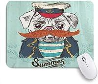 VAMIX マウスパッド 個性的 おしゃれ 柔軟 かわいい ゴム製裏面 ゲーミングマウスパッド PC ノートパソコン オフィス用 デスクマット 滑り止め 耐久性が良い おもしろいパターン (帽子の口ひげのジャケットとシャツのかわいい動物面白いキャプテン犬)