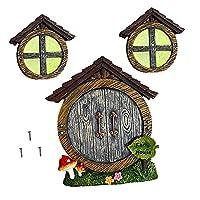 Fenteer ミニチュア妖精omeホームために窓やドア木装飾、ダーク妖精睡眠ドアや窓、庭アート庭の芝生の装飾