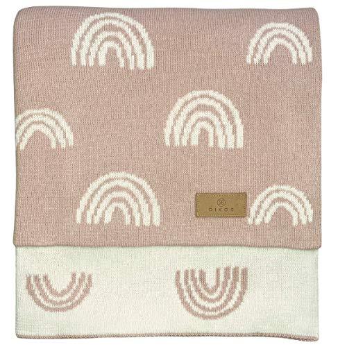 Babydecke Baumwolle rosa Regenbögen - aus * 100% * GOTS BIO Baumwolle kbA kontrolliert biologischer Anbau Mädchen Strickdecke Baby Decke Baumwolldecke Strick Wolle Kinderwagen Kuscheldecke