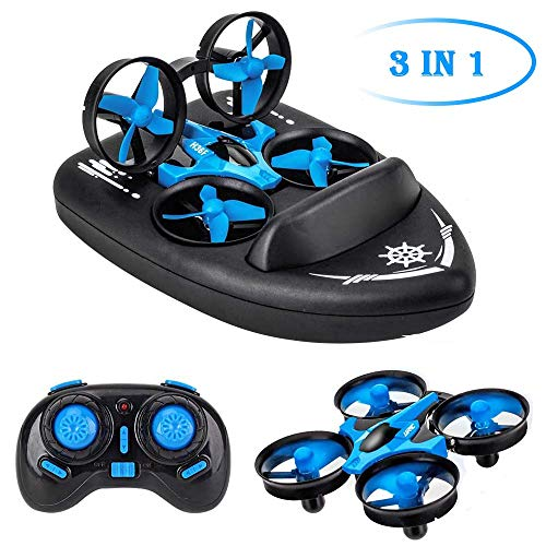 B-Qtech Mini Drone for Kids, RC Car for Kids & Beginners, Remote Control Boats for Pools and Lakes, RC Quadcopter, 3-in-1 Ground-Water-Air Mode with Auto Hovering, 3D Flip, Headless Mode