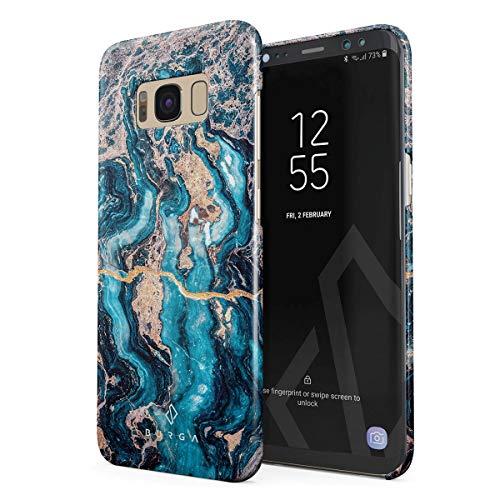 BURGA Hülle Kompatibel mit Samsung Galaxy S8 - Handy Huelle Licht Blau Marmor Muster Blue Teal Turqoise Türkis Marble Mädchen Dünn Robuste Rückschale aus Kunststoff Handyhülle Schutz Case Cover