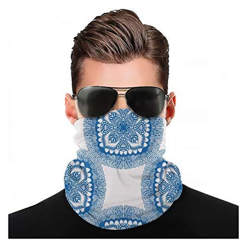 Yeuss Blue Mandala Stoff von Kopftuch, sich wiederholende orientalische Blumenmotive Illustration auf einfachem Hintergrund, Outdoor-Sportstirnbänder, Motorradstirnbänder zum Radfahren