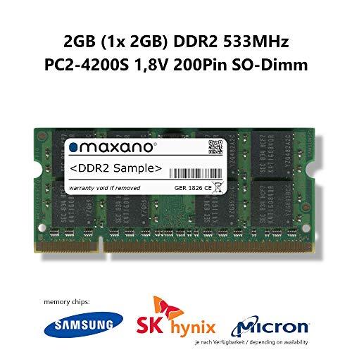 Maxano 2GB (1x 2GB) DDR2 533MHz PC2-4200S SO Dimm 200Pin Unbuffered Non-ECC 1,8V Arbeitsspeicher RAM Memory