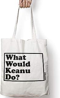 WHAT WOULD KEANU DO? tote bag in tela di cotone naturale NEI COLORI NATURALE O NERO, KEANU REEVES