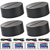 4-Pack 3D Night LED Light Lamp Base + Remote Control + Blank Acrylic+ USB Cable Adjustable 7 Colors Decoration Maison Decorative Lights for Bedroom Child Room Living Room Bar(Black)