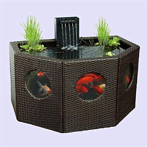YMXX® Gartenfenster Rattanverkleidung Seerosenteich achteckig/halbmondförmig großes Aquarium oder hydroponischer Koi