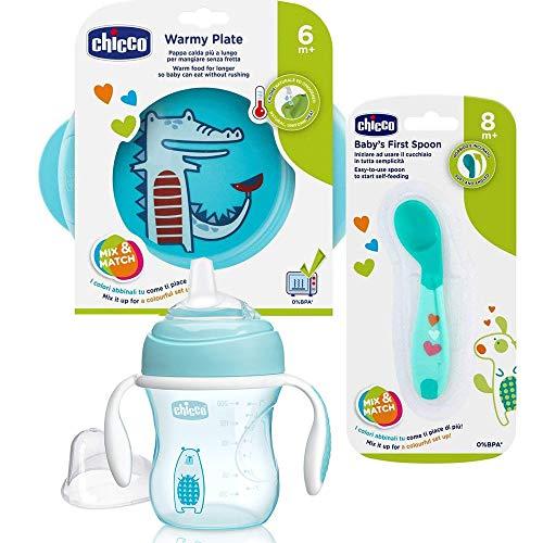 CHICCO Beikoststart - Juego de 3 piezas para aprender a comer, plato térmico y cuchara para aprender a comer en ángulo, vaso con boquilla de silicona súper suave, 200 ml, sin BPA