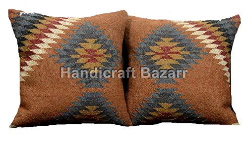 Handicraft Bazar 3 Set Indian Handwoven Kilim Pillows, Indian Cushion Cover Jute Outdoor Cushions, Boho Throw, Bohemian Pillow Shams 18x18, Decorative Pillowcases,