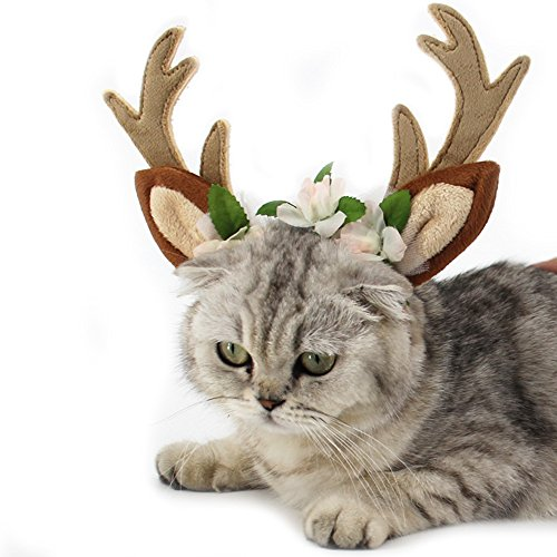 Dog Elk Antler Reindeer Hat Cap Dog Cat Pet Christmas...