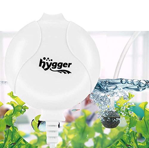 Hygger Sauerstoffpumpe für Aquarium, Superleise Aquarium Luftpumpe Geräusch niedriger als 33db 1.5W Leistungsstark Sauerstoffpumpe 420Ml/M Geeignet für Fischbecken und Die Nano Aquarien (Weiß)