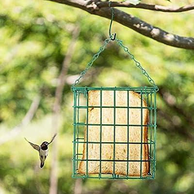 HELEVIA Bird Feeder Square Bird Feeder Bird Food Dispenser Hanging Wild Bird Feeder Sebum Feeder for Garden Outdoors from HELEVIA