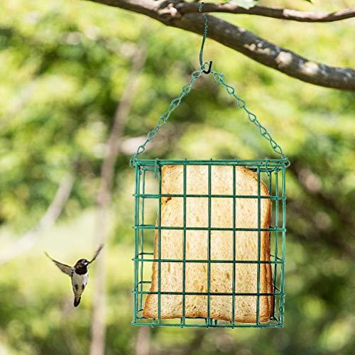 HELEVIA Mangeoire à Oiseaux, mangeoire à Oiseaux carrée Distributeur de Nourriture pour Oiseaux Suspendu mangeoire à Oiseaux Sauvages mangeoire à sébum pour Jardin extérieur