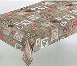 Confección Saymi Mantel Antimanchas loneta resinada Ref. Navidad Corazones Rojo, Medida...