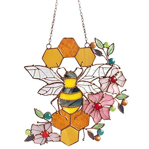 Stained Glass Honeycomb Window Hanging - Bumble Bee Honeycomb Sun Catcher ,Bee Suncatchers for Windows , Queen Bee and Servants Protecting Bumble Bee Hive Decor,Wall Hanging Ornament (B)