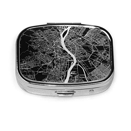 DODOD Pill Box Quadratische Metall Pill Box wird für Taschen- oder Geldbeuteldesign verwendet. Stadt Budapest Karte Artprint Black Landmass Wildwasser und Straßen Geographie Ungarn