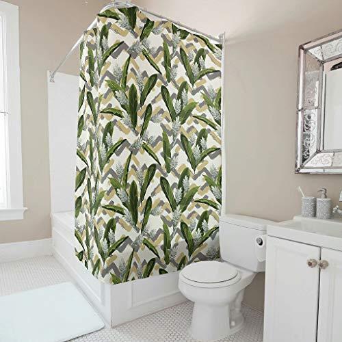 Charzee Blume Bedruckt Duschvorhang Schimmel Resistent Vorhang Pflanze Bad Vorhang für Badezimmer Badewanne B x H:120 x 200 cm White 150x200cm