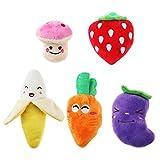 UEETEK 5pcs Squeaky Hundespielzeug für kleine Hunde Obst und Gemüse
