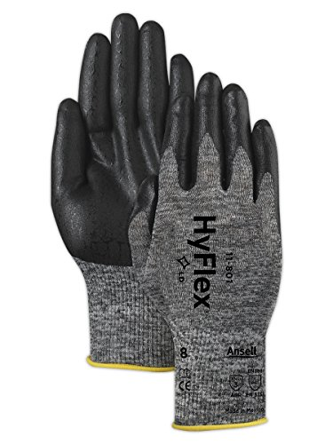 Ansell 118016 HyFlex 11-801 Grey and Black Nitrile Coated Machine Knit Gloves, 8.5' Length, 4.5' Width, 0.38' Height, Size 6, Gray (Pack of 12)
