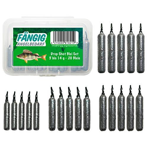 Fängig Dropshot Blei Set mit Box 20 Bleie 5g / 7g / 10g / 14g für das Drop-Shot Angeln Drop Shot Stabblei blei Gewichte