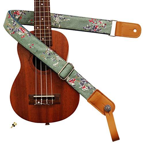 "MUSIC FIRST Original Design Vintage Style ""Plum Flowers"" Soft Cotton & Genuine Leather Ukulele Strap Ukulele Shoulder Strap With a MUSIC FIRST Genuine Leather Strap Locker"