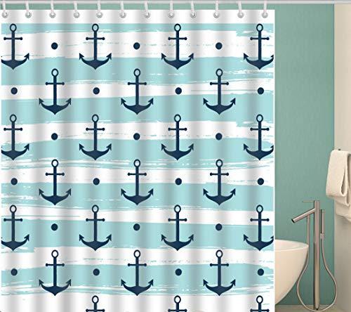 Douchegordijn Badkamer Leuk Anker Print Gordijn Waterdicht Bad Gordijn Polyester Meeldauw Badkamer Gordijn 180X200Cm