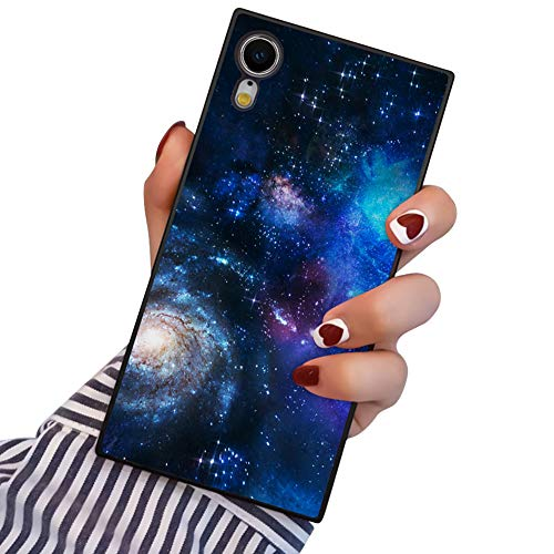 PERRKLD iPhone XR Case Square Blue Starry Sky Galaxy Space Pattern Heavy Duty Protection Shock Absorption Slim Soft TPU Edge and Hard PC Case Cover for iPhone XR