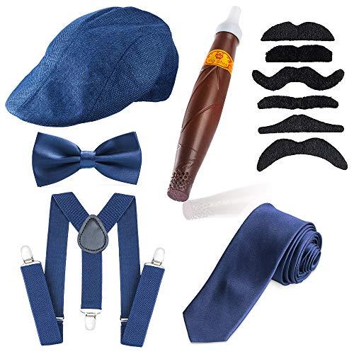 Beelittle 1920er Jahre Mens Gatsby Gangster Kostüm Zubehör Set - Gatsby Newsboy Baskenmütze Hut, Hosenträger, Taschenuhr, Krawatte, Pre gebundene Fliege, Zigarre, falschen Schnurrbart (E)