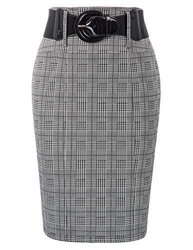 Belle Poque Women's Stretchy Business Pencil Skirt for Office Wear, Grid-1, X-Large