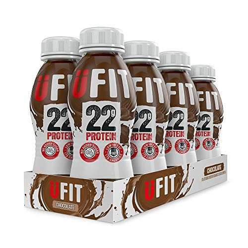 UFIT High 22g Protein Shake, No Added Sugar, Low Fat – Chocolate Flavour Ready To Drink (Pack of 8 x 310ml)