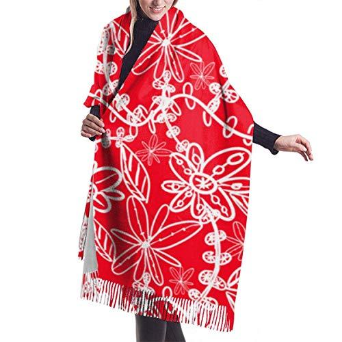 Bufanda de chal para mujer Patrón de encaje en chal rojo Bufanda Capa grande, suave y acogedor Bufanda de cachemira Abrigo para mujer Chal cálido