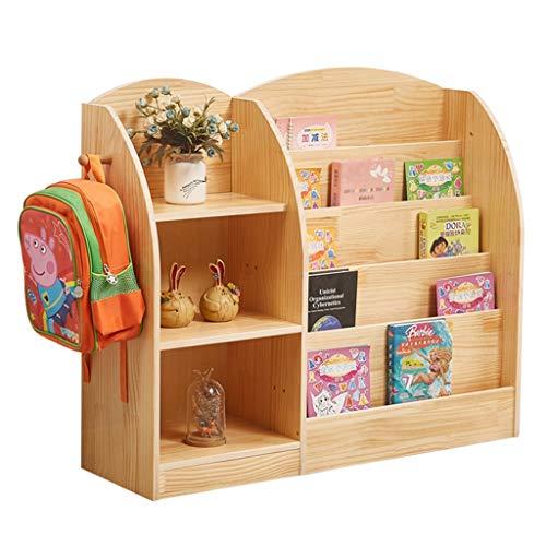 Librerías Estantería for niños Estantería con cuadros de madera maciza Armario de piso de juguete Expositor de libros de jardín de infantes Estanterías infantiles ( Color : Wood , Size : 120*30*86cm )