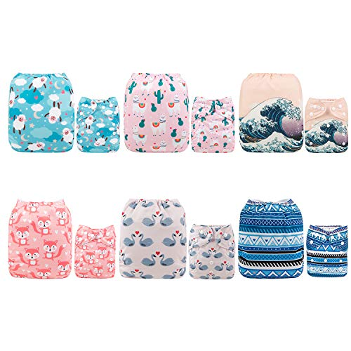 ALVABABY Baby Cloth Diapers One Size Adjustable Washable Reusable for Baby Girls and Boys 6 Pack with 12 Inserts 6DM38