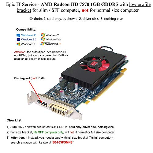 Epic ES Service – AMD Radeon HD 7570 1 GB 1024 MB GDDR5 Low Profile Video Karte mit Display Port und DVI für SFF/Slim Größe Computer