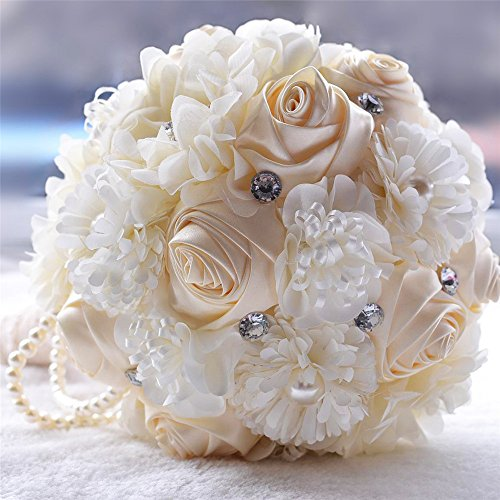 FYSTORE Wedding Bouquet, Bridesmaid Bouquet Bridal Bouquet with Crystals Soft Ribbons, (Ivory)