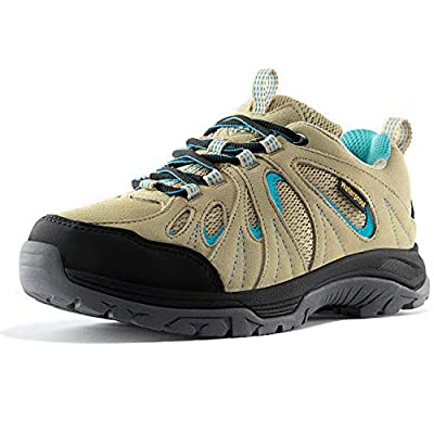 Wantdo Women's Waterproof Trail Shoes Water Resistant Winter Low Cut Hiking Boots for Women Non-Slip and Breathable Trail Shoes Suede Leather Outdoor Trail Hiker Running Boots Khaki Blue Size 9