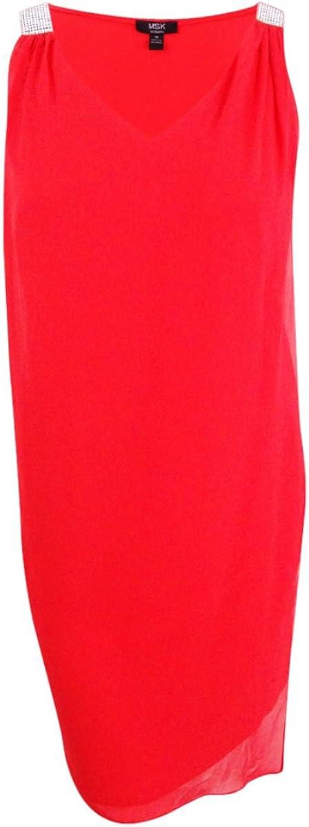 MSK Women's Plus Size Rhinestone Chiffon Overlay Dress