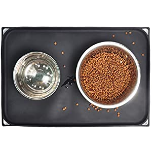 Mofason Pet Food Mat Waterproof Dog Mat XL (24×16) or L (20″x13″) – 0.5 inch Raised Edge, Dog Cat Silicone Feeding Placemat Water Bowl Tray for Floors, Nonslip Washable Dog Mat for Food and Water