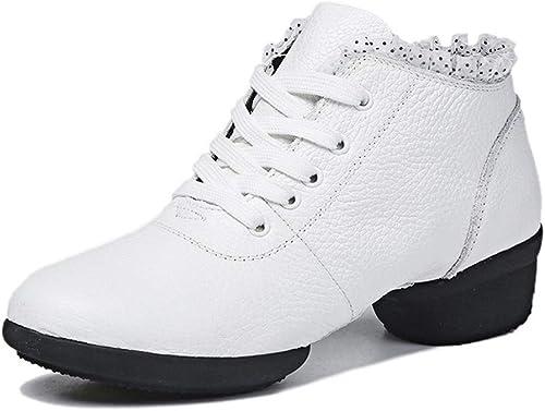 YAN schuhe de Baile de Las señoras Nuevo 2019 Encaje + Cuero Moderno Danza Calle Baile schuhe Transpirable Vestido schuhe Weiß schwarz,Weiß,39