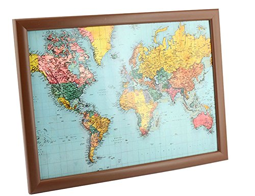 E Bargains UK Comfortable World Map Design Padded Beanbag Cushioned Lap Tray - Perfect for Laptops, Writing or Dining