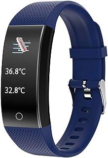 HZYYZH Multi-Deportes Información De Llamadas Control De Actividad Inteligente Pulsera Deportes Podómetro Bluetooth Cámara Recordatorio Monitoreo del Ritmo Cardíaco del Sueño,Azul