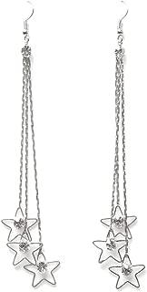 Women Pentacle Rhinestone Drop 3 Layers Chain Long Tassels Dangle Linear Earrings Ameesi