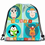 Ccsoixu Deer Pinguin 2016 Holidays Drawstring Backpack Gym Sack Lightweight Bag Water Resistant Gym Backpack for Women&Men for Sports,Travelling,Hiking,Camping,Shopping Yoga