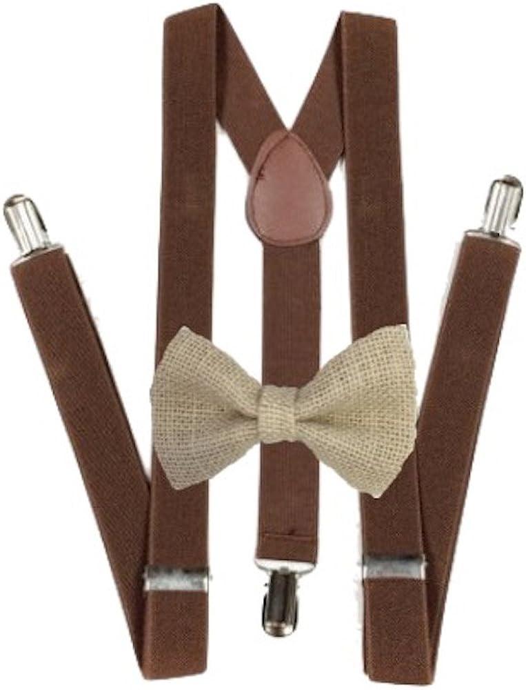 Burlap Bow ties and brown suspenders Set Combo Mens