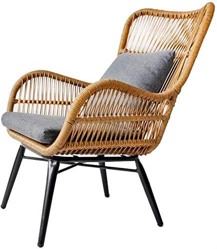 Auoeer Leichter Klappstuhl Freizeit Cane Chair Balkon Stuhl Saucer Stuhl Rückenstuhl Einzelne Rattan Sofa Liegestuhl Lazy Couch (Farbe : Beige)