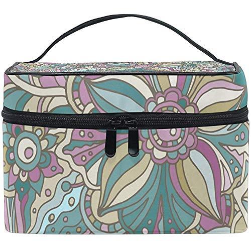 Hippie Doodle fleurs et feuilles sac cosmétique voyage maquillage train cas stockage organisateur