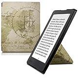 kwmobile Carcasa Compatible con Kobo Aura H2O Edition 2 - Funda magnética de Origami para e-Book - mapamundi Vintage marrón/marrón Claro
